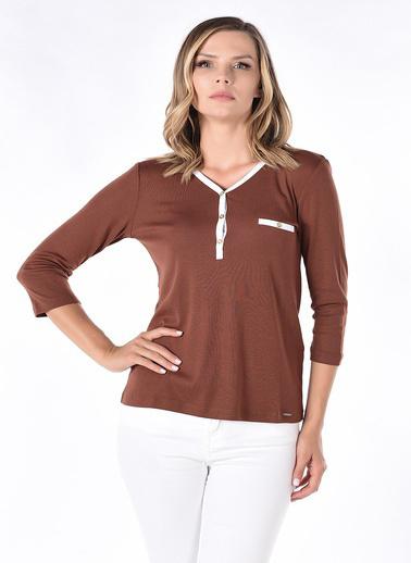 Optique Knitwear Düz Polo Yaka Uzun Kol Penye Bluz Kahve